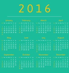 Calendar 2016 year week starts with sunday vector
