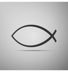 Christian fish icon on grey background vector