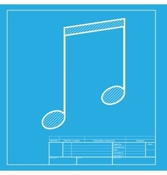 Music sign  white section of icon on vector