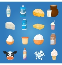 Milk food icon set vector