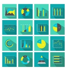 Colored graphs flat icon set vector
