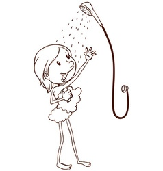 A young girl taking a shower vector image