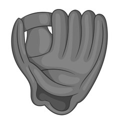 Baseball glove icon black monochrome style vector