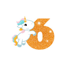 Birthday anniversary number with cute unicorn vector