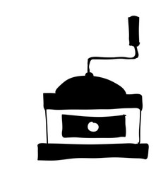 Black silhouette hand drawn with coffee grinding vector