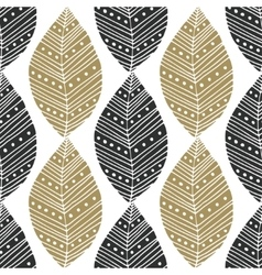 Bohemian seamless pattern with black and gold vector