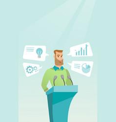 Businessman giving speech at business seminar vector