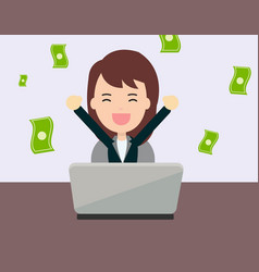 Businesswoman glad to earning money from online vector
