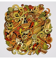 Cartoon cute doodles Mexican food vector image vector image