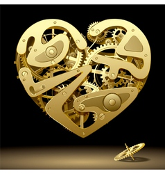 Clockwork heart gold vector
