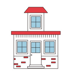 Color sections silhouette house with small attic vector