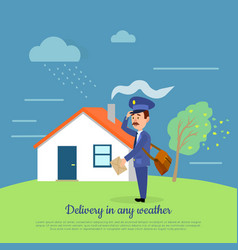 Delivery in any weather postman delivers letters vector