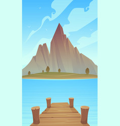 Dock on mountain lake vector