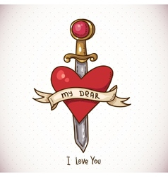 Doodle Greeting Card with sword ribbon and heart vector image vector image