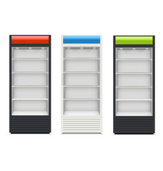 fridges with glazed door on white background vector image