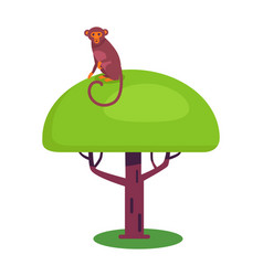 funny monkey with long tail sits on big leafy tree vector image