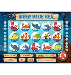 Game template with sea animals vector