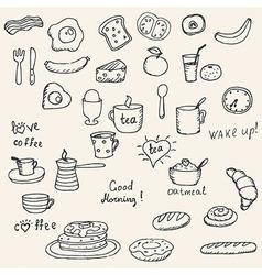 Icons breakfast foods vector image vector image