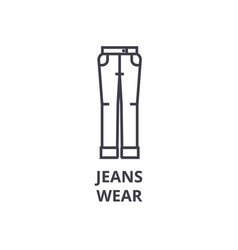 jeans wear line icon outline sign linear symbol vector image