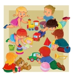 Little boys and girls sitting on the floor playing vector