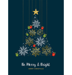 merry christmas gold winter snow pine tree card vector image vector image