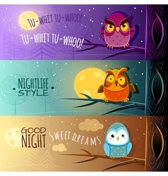 Owls banners vector