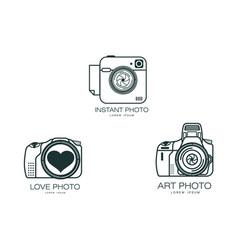 photo camera icon set isolated vector image