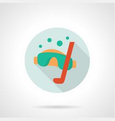 scuba diver mask flat round icon vector image vector image