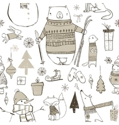seamless pattern with cute winter elements vector image vector image