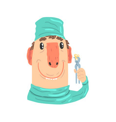 smiling cartoon dentist character with pliers vector image