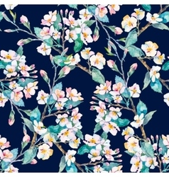 Spring patternflowering branches watercolor vector