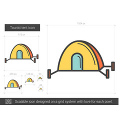 Tourist tent line icon vector