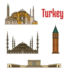 Turkey historic architecture buildings vector