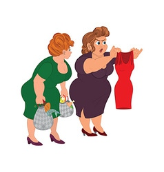 Two fat cartoon women looking on small red dress vector image vector image