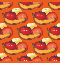Watercolor seamless pattern with apples oranges vector