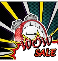 wow sale pop art explosion over dotted background vector image