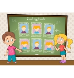 Yearbook for school with boy girl and chalkboard vector