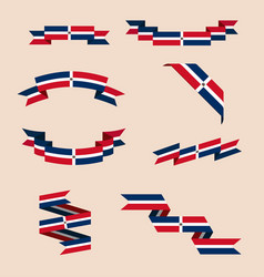ribbons or banners in colors of dominican flag vector image