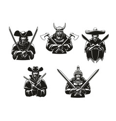 soldiers or warriors man ammunition icons vector image