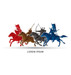 Group of samurai warriors riding horses vector