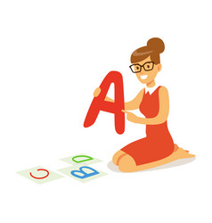 Cheerful teacher sitting on the floor and showing vector