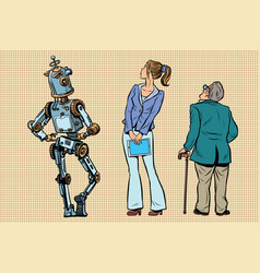 robot girl and old viewers are back vector image