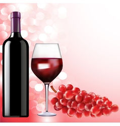 Bottle of wine glass and grapes vector
