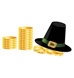 Leprechaun hat and coins vector