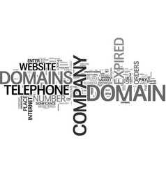 What is an expired domain text word cloud concept vector
