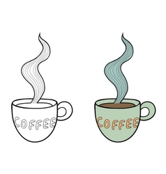 Set of two doodle coffee cups outline and subdued vector