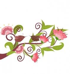 Flower with birds vector