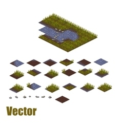 Pixel art river tilesets water grass and land vector