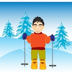 Skier in wood vector