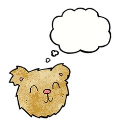 Cartoon happy teddy bear face with thought bubble vector